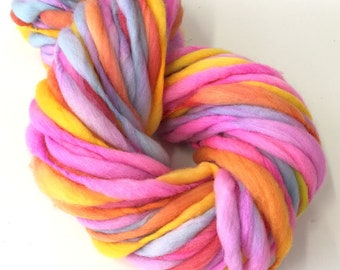 Hand spun yarn, super bulky, in thick and thin merino wool - 50 yards, 2.8 ounces/80 grams