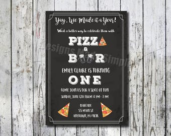 You Made it a Year - Pizza and Beer 1st Birthday Party Invite - Printable