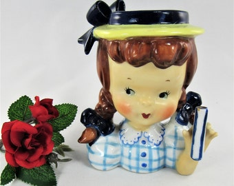 "HEAD VASE Child Young Girl  Vintage Umbrella Girl with Wide Brimmed Hat and Pigtails. The Little Girl is 4 3/4"" Tall and in Good Condition!"