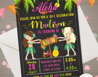 LUAU INVITATION Luau Birthday Invitation Luau Invite Luau Birthday Party Aloha Invitation Aloha Birthday Party Aloha Printables Luau Girl