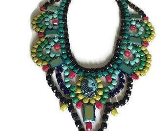 SUIBTROPICAL  hand painted rhinestone super statement necklace