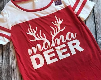 Mama Deer - Red Jersey Tunic Top - Med