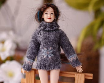 Heidi Ott doll Hand knitted gray sweater women 1:12 scale dollhouse lady doll Miniature dollhouse clothes Winter Clothes women  dolls