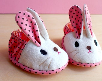 Elastic Baby Booties, Bunny Baby Shoes, Rabbit Baby Booties, Fabric Baby Shoes, Prewalker Booties, Newborn Infant Booties, Chubby Bunny 04
