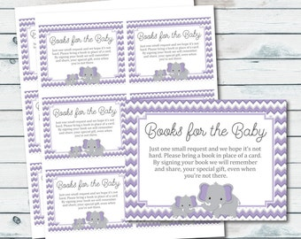 Purple Elephant Bring A Book Instead Of A Card  Inserts, Books For The Baby, Purple and Gray Elephant Book Request, Baby Shower Book Inserts