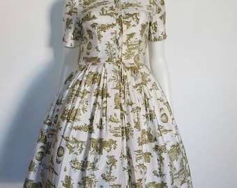 """50s Dreamy Hot Air Balloon Novelty Print 