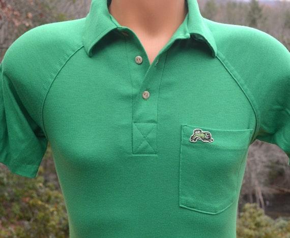 Vintage 70s Golf Shirt Polo GARAN Panther Green Raglan Tennis Small XS Preppy 80s