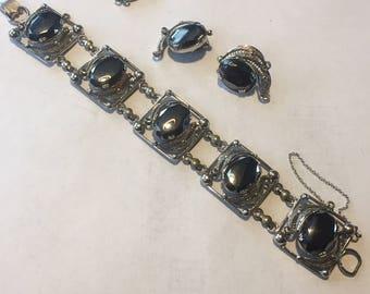 RARE Alice Caviness Sterling Silver Bracelet Earrings Pendant SET Vintage Signed
