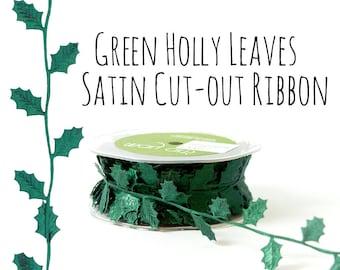 Green Holly Leaf Vine Cutout Satin Ribbon, Christmas Holly Leaves Ribbon, Green Vine Leaf Ribbon, Gift Wrap, Wedding Supplies, Craft Supply