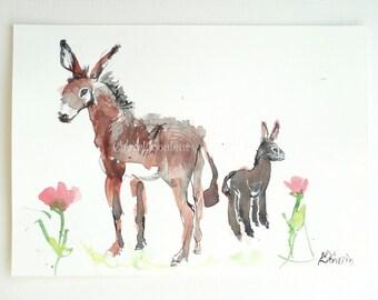 Original watercolor Donkeys
