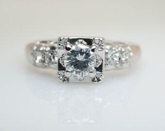 Vintage Retro .55CT Diamond Engagement Ring 14k White Gold Vintage Engagement Ring Wedding Ring Bridal Jewelry Diamond Ring
