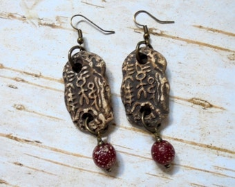 Rustic Brown and Dark Red Tribal Earrings (2893)