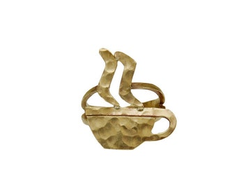 Gold coffee ring, hammered jewelry, pinky ring, finger ring, coffee lover gift, women simple band, creative jewel, tumbaga ring, brass band