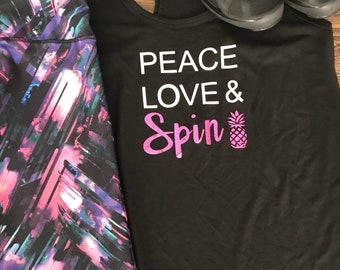 Peace, love & Spin fitness tank top, spin workout tank, cycling tank top, spin class shirt, graphic tee, workout tank, gift for her, gym