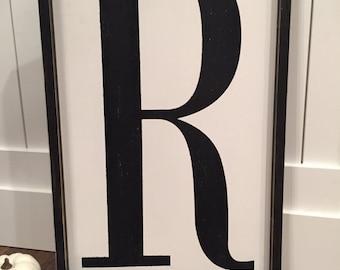 Big 24x16 letter sign | framed letter sign | fixer upper letter sign | vintage letter sign | capital letter sign | alphabet sign | monogram
