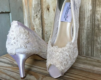 Victorian Lace Open Toe Bridal Pump Medium Satin Heel Beaded French Lace Detail Lace Peep Toe Heels