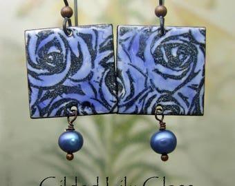 Blue Rose Enamel Earrings, Copper Enamel Jewelry handmade in North Carolina