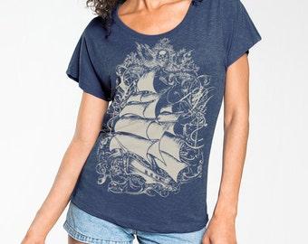 Pirate Ship T-shirt, Nautical T shirt, Sailing Ship t-shirt,  Women's Steampunk t-shirt, Indigo Blue , Gift for Her, Art T-shirt