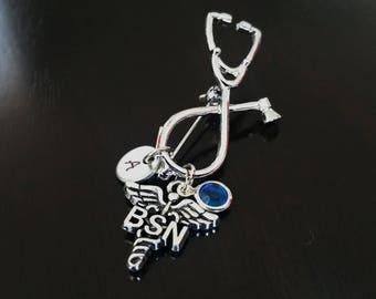 BSN Bachelor of Science Nursing Nurse Handstamped Personalized Crystal Birthstone Initial Brooch Pin