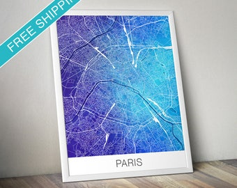 Paris Map Print - Map Art Poster with Watercolor Background