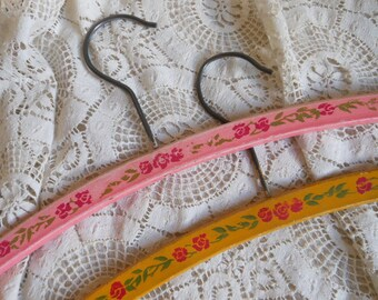 2 Roses Painted Wooden Clothes Hangers Pink Yellow Vintage at Quilted Nest