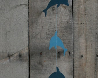 Dolphin Garland, 12 Hanging Dolphins, Paper Garland, Dolphin Birthday Party Garland, Custom Dolphins