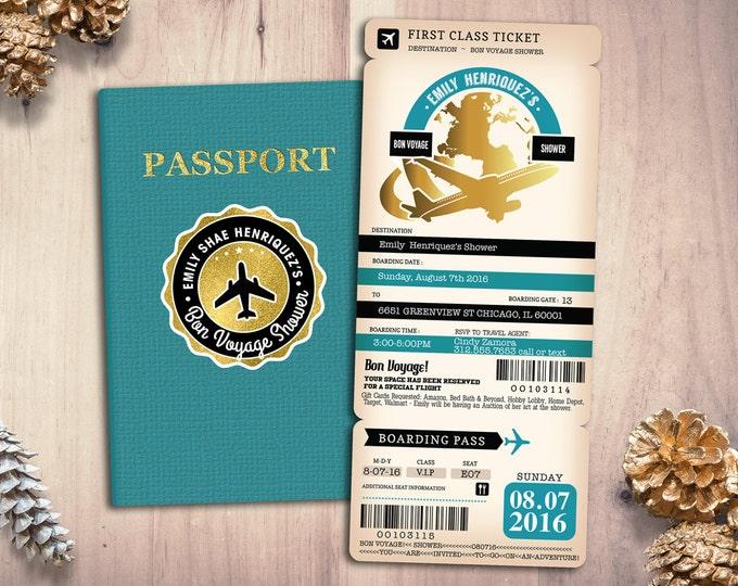 Good bye party, Retirement Party Invitation, Bon Voyage, travel, passport, destination, invite, birthday invitation, Digital files only
