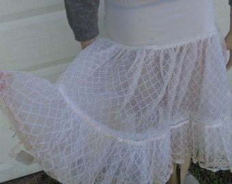 50s Square Dance white lace tiered net hand made long petticoat by Jeansvintagecloset on Etsy