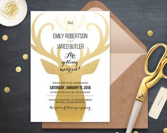 Gold Deer Wedding Invitation Printable Winter Wedding Invite, Initials Monogram Invitation, Rustic Woodland Wedding Invite DOWNLOAD Editable