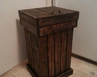 wooden kitchen garbage can / wood trash bin /  kitchen garbage bin / office garbage bin / office trash can