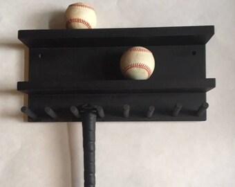 Baseball Bat Rack Display Holder Black 4 - 7 Full Size Standard Bats 8 Baseballs