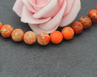 10 round beads 8 mm orange color PG148 reality x