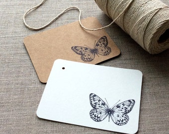 20 Mini Butterfly Cards, butterfly gift tags, flat thank you cards, escort cards, place cards, wedding favors, bridal shower favors