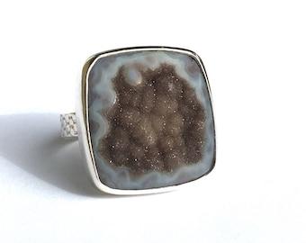 Black Drusy Ring Size 6 .. Grey Drusy Ring .. Black Druzy Ring .. Black Drusy Jewelry .. Handmade Jewelry