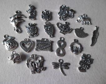 x 20 mixed patterns on pendants/charm silver n ° 1