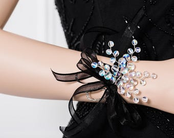 Limited Edition Round Iridescent Clear Corsage - Rainbow Wrist Corsage