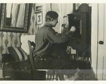 Vintage Snapshot 1919 Man from Back Makes Phone Call Old Fashioned Telephone