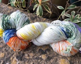 """100grms hand painted merino/nylon /stellina fingering weight yarn """" spring into wool"""""""