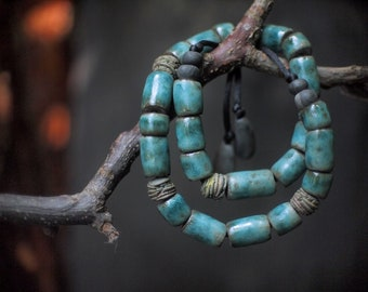 Artisan ceramic necklace with handcrafted   beads