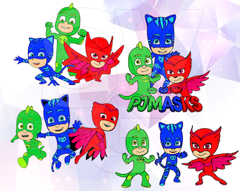 PJ Masks SVG DXF Eps Layered Vector Cut Files Cricut Designs Silhouette Cameo Superhero Party Decoration Vinyl Tshirt Decal Scrapbooking