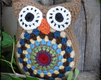 Brown Owl Stuffed Animal Crochet Pillow Owl Amigurumi Birthday Gift Welcome Baby Boy Nursery Decor Americana