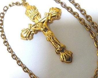 CLASSIC Goldplated CRUCIFIX Cross, Gold Crucifix, Gold Cross, Vintage Crucifix Cross with Neck Chain, Christian Cross, Gold Cross Necklace