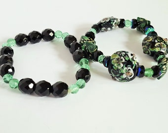 Black and Green Lampwork Stretch Bracelet