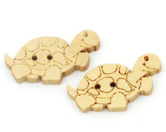 BBN224 - 2 TURTLE NATURAL WOODEN BUTTONS