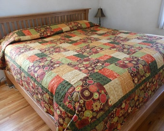 King Size Quilted Blanket, King Bed Quilted Blanket, Flower Patchwork Quilt, Patchwork King Bed Blanket, Patchwork King Bed Quilt
