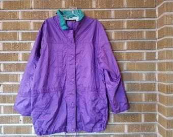 90s purple eddie bauer zip up windbreaker