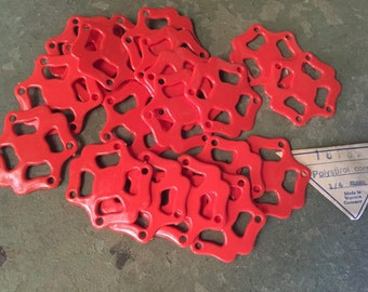 Vintage Coral Colored Polystirene Beads Made in Western Germany Set of 20