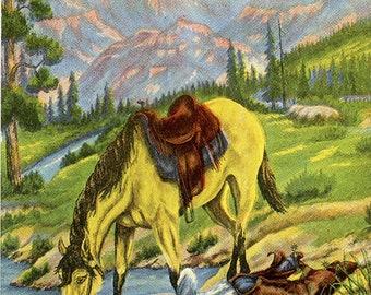 A Drink of Water – Western L. H. Dude Larsen Vintage Postcard 1939 (unused)