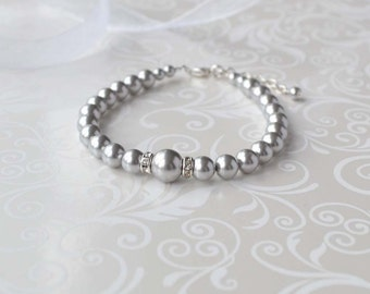 Gray Pearl Bracelet, Pearl and Crystal Bracelet, Grey Jewelry, Wedding Party Gift, Beaded Bracelet, Bridesmaid Jewelry, Mother's Day