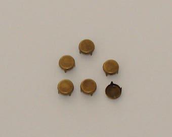 50 rivets studs round flat 9mm antique bronze - Ref: RC 563